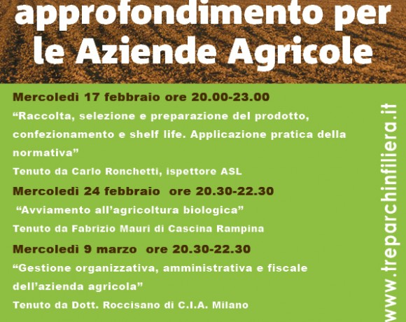 Incontri di approfondimento per le aziende agricole